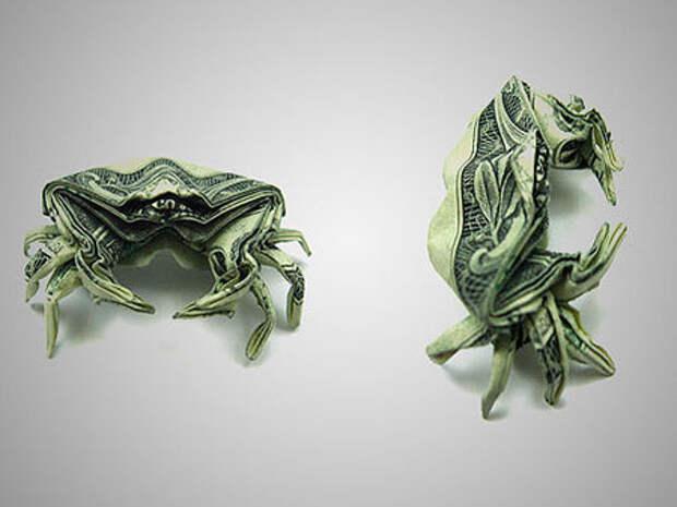 Оригами из денег - краб