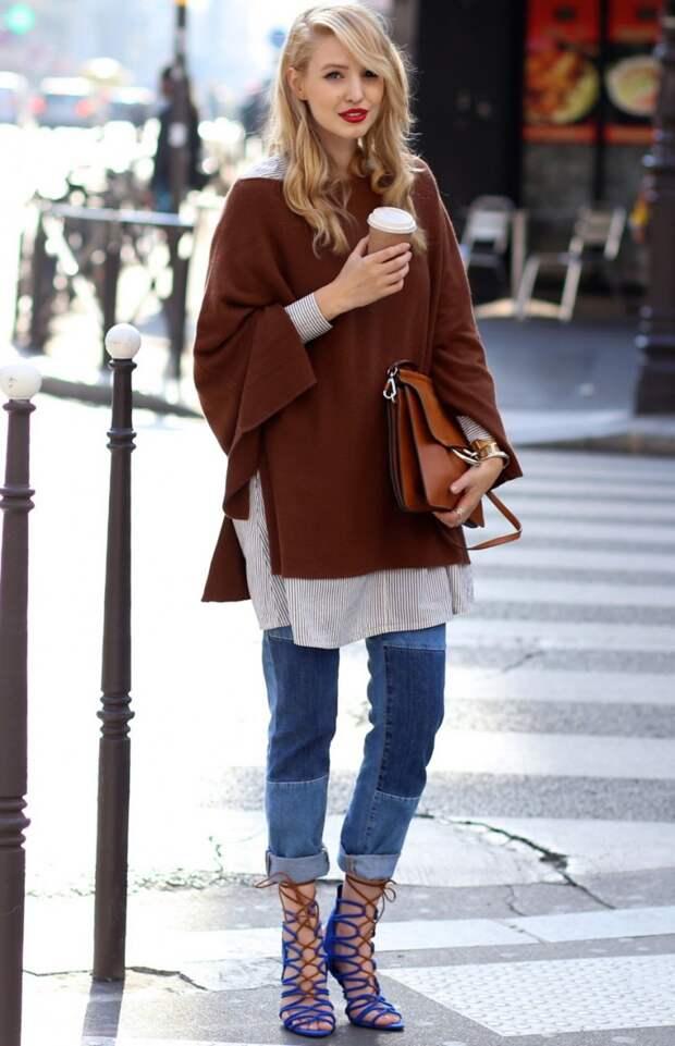 Объёмный джемпер шоколадного цвета, вязаная мода 2016, модные вязаные вещи 2016, (фото 10)