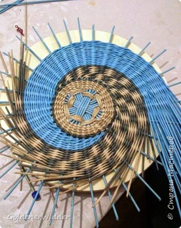 Мастер-класс Плетение Панно 40 см Спиральное плетение Бумага газетная Трубочки бумажные фото 22