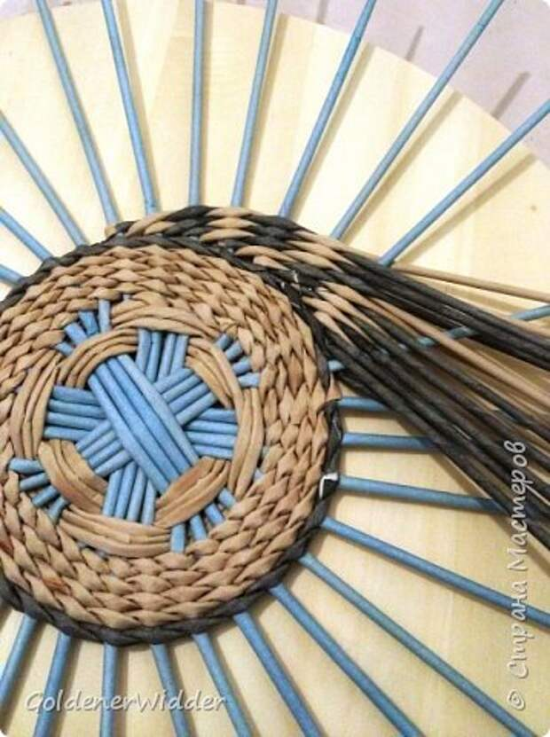 Мастер-класс Плетение Панно 40 см Спиральное плетение Бумага газетная Трубочки бумажные фото 9