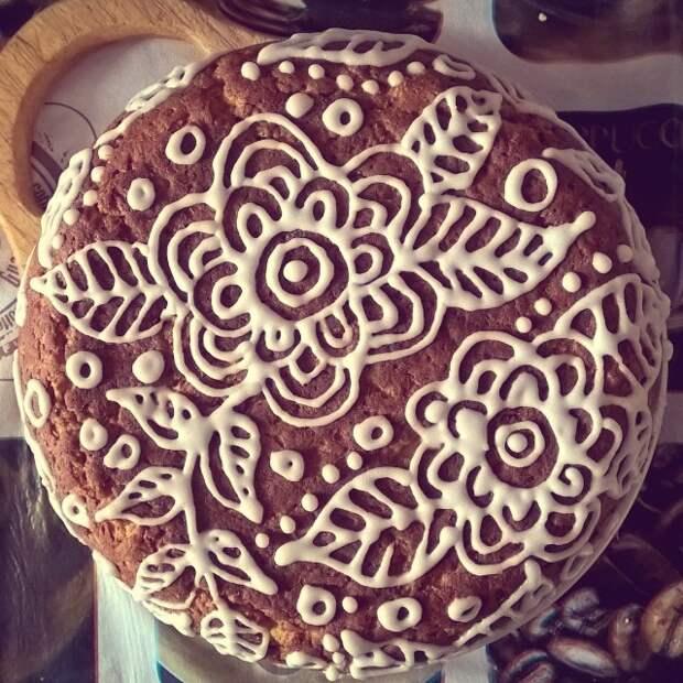 Тыквенно-овсяный пирог с узорами в зимнем стиле выпечка, красивая еда, кулинария, пироги