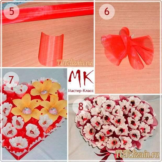 «Сладкое» сердце из конфет своими руками