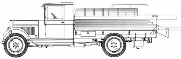 Схема транспортной машины переправочно-мостового парка МдПА-3 авто, автоистория, военная техника, история, переправа, понтон, понтонно-мостовая переправа