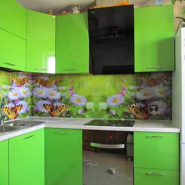 рабочая стенка на кухне с фотообоями
