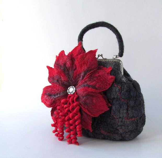 Felted purse red flower under 50