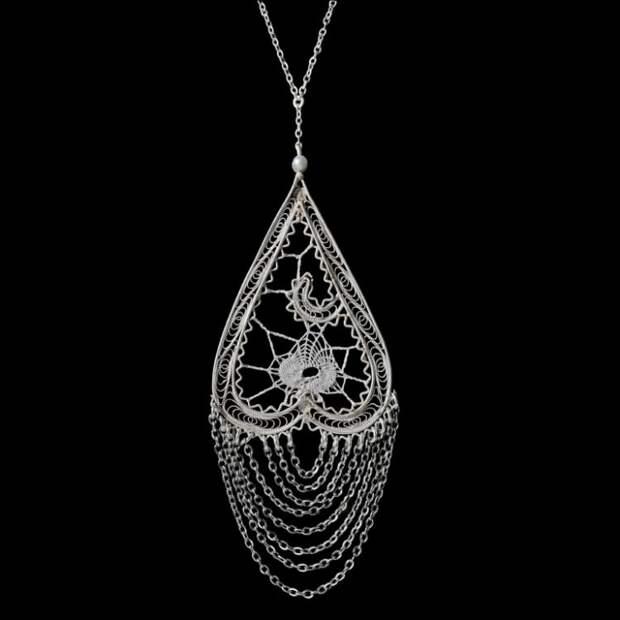 Clizia Ornato Подвеска (серебро, шёлк, жемчуг, филигрань)