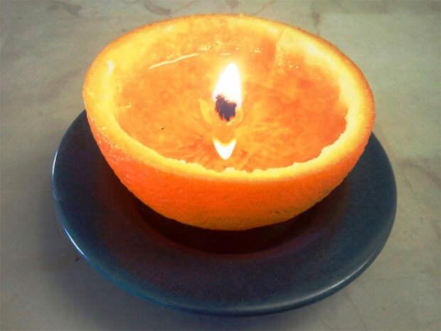 свеча в кожуре из-под апельсина