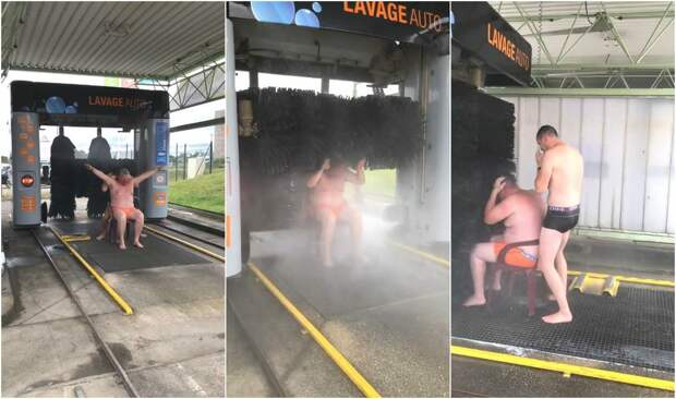 Шутники приняли душ на автомойке