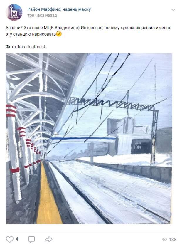 Фото дня: станция «Владыкино» вдохновила художника