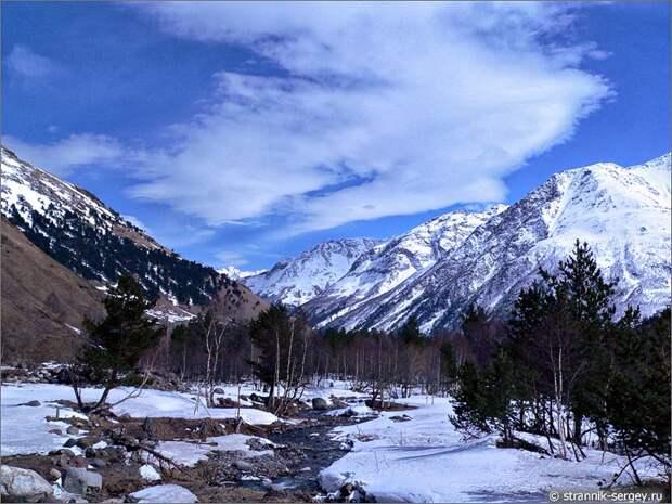 Баксанское ущелье горные ручье горная река снег горы