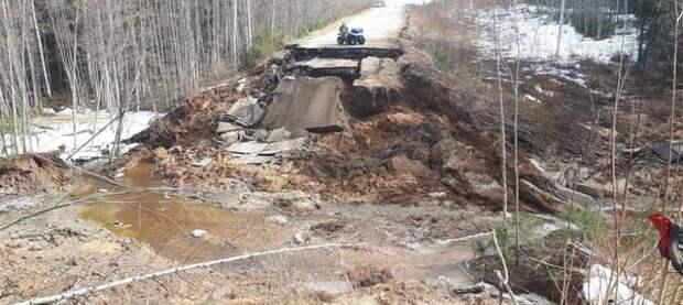 В Сыктывдинском районе ввели режим ЧС из-за смытой дороги к Шыладору