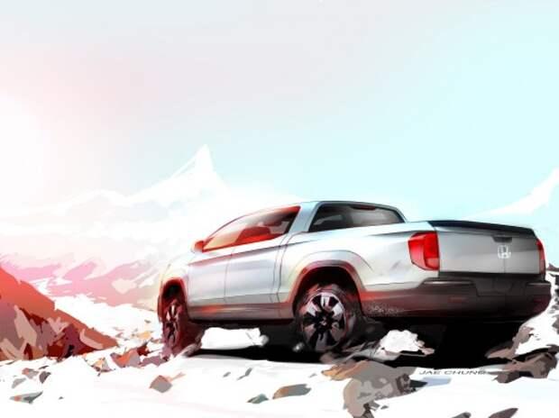 Эскиз нового пикапа Honda Ridgeline показали в Чикаго