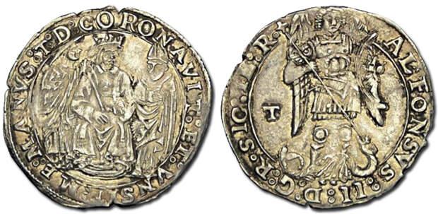 Короната (серебряная монета) короля Неаполя Альфонсо II Арагонского. Вес 3,96 г. Надпись на реверсе гласит: ALFONSUS II DEI GRATIA REX SICILIAE IERUSALEM UNGHERIAE (Альфонс II, Божьей милостью король Сицилии, Иерусалима, Венгрии). napoliaragonese.it - Подготовка к схватке за «итальянский сапог» | Warspot.ru