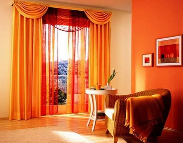 персиковые шторы в интерьере фото