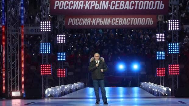 Владимир Путин на митинге в честь годовщины воссоединения Крыма с РФ