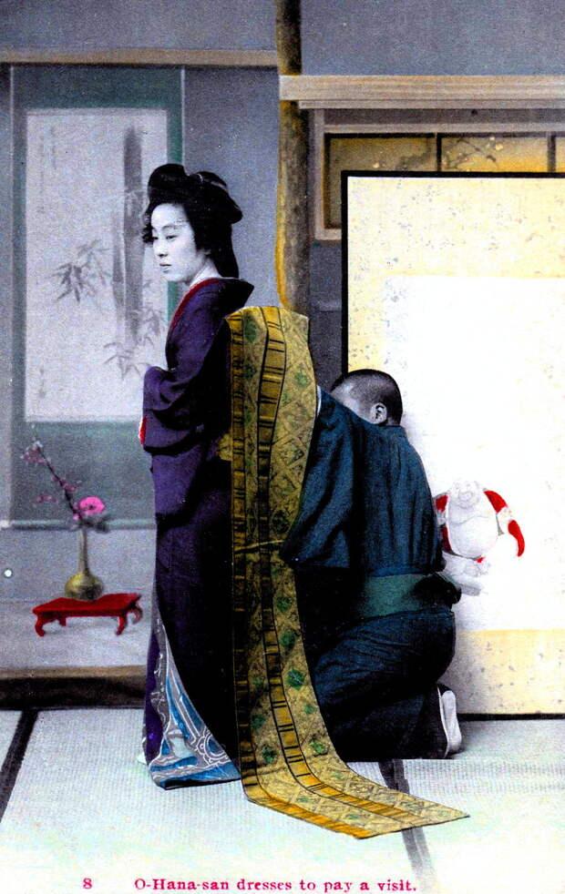 1908. Знаменитая гейша из Токио О-Хана-сан в платье для визитов