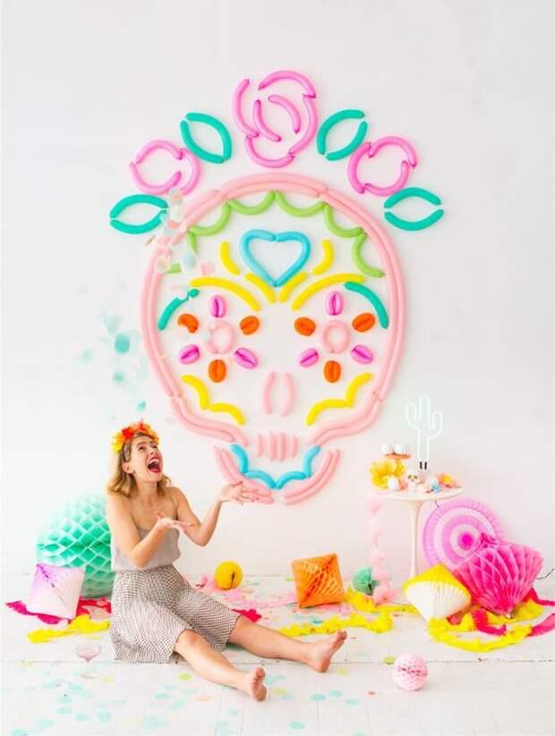 Как украсить комнату шарами (подборка)