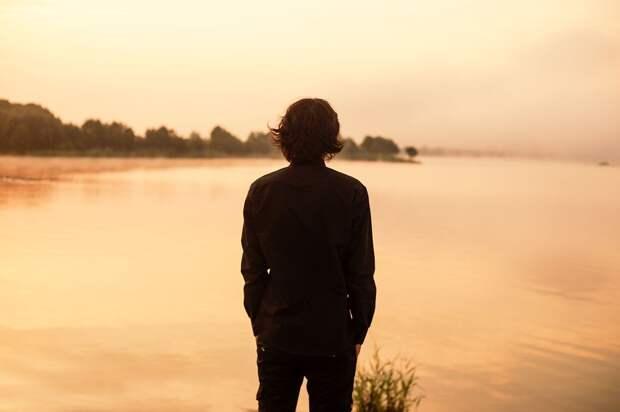 Мужчина, Спиной, Озеро, Черная, Рубашка, Горное Озеро