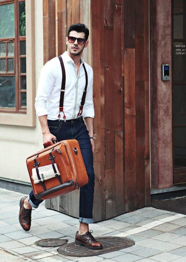 правильно носить подтяжки, подтяжки мужские, мода мужская, кожаные подтяжки, casual, носить подтяжки из кожи, как носить подтяжки