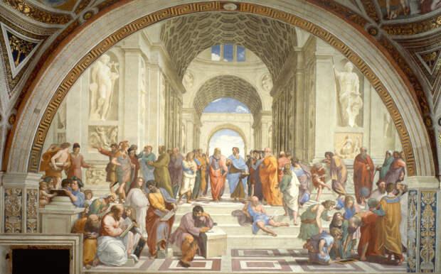 Афинская школа, фреска. Автор: Рафаэль. \ Фото: reddit.com.