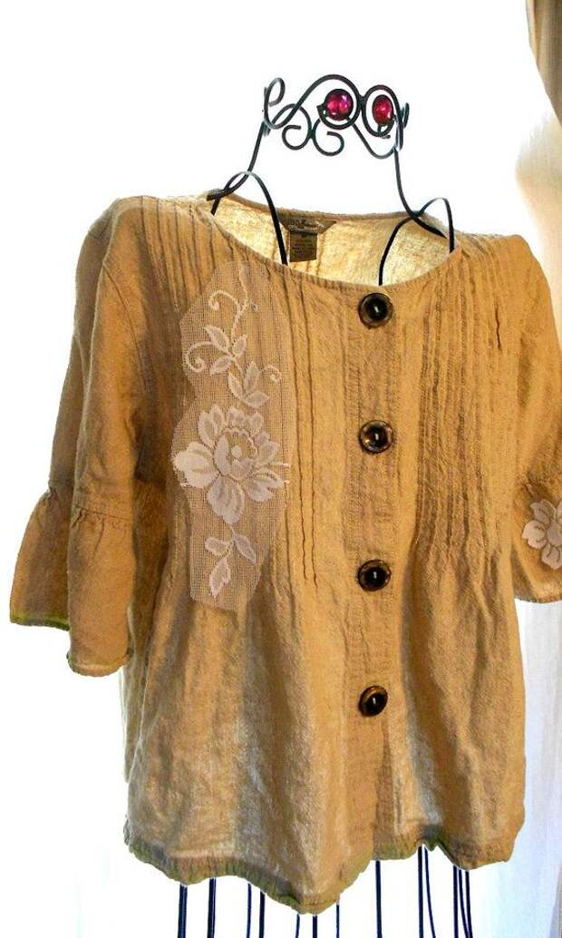 Earthy Boho Ecru Linen flax Shirt Top Blouse Country chic Rose embellished Shirt Med Womens Linen Clothing Natural Earth tones