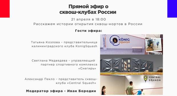 Сквош-клубы России. Прямой эфир Федерации Сквоша России.