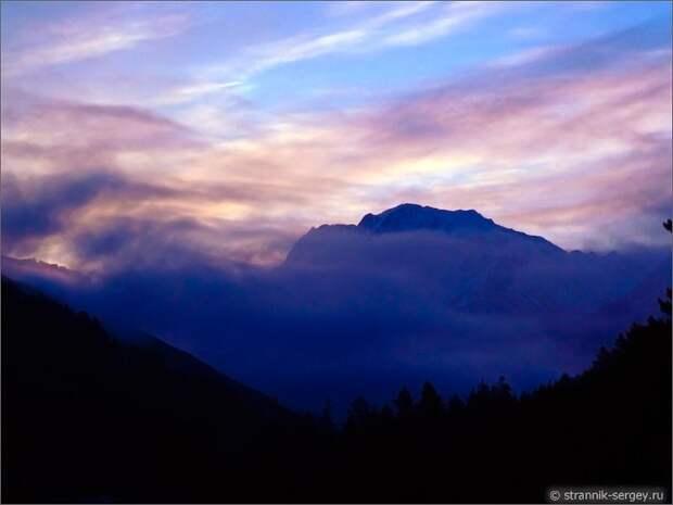 Баксанское ущелье горы вечер заход солнца вечернее небо