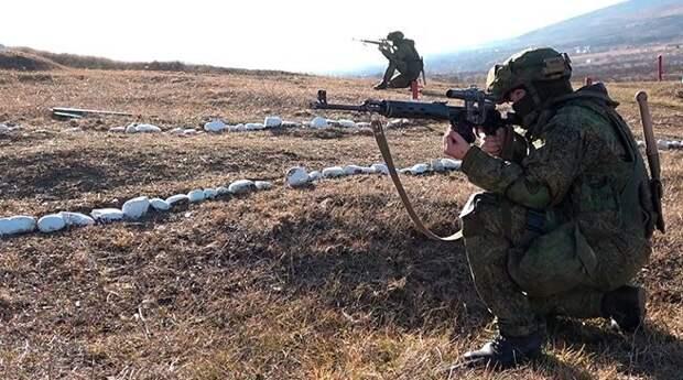 Российские снайперы в Южной Осетии отработали скоростную стрельбу