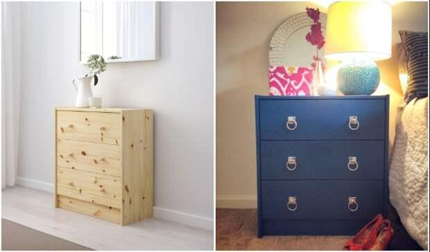 Комод из натурального массива дерева IKEA можно оставить в неизменном виде, но и адаптировать под выбранный дизайн или свой вкус тоже получится.