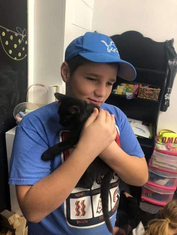 ребенок держит кошку на руках