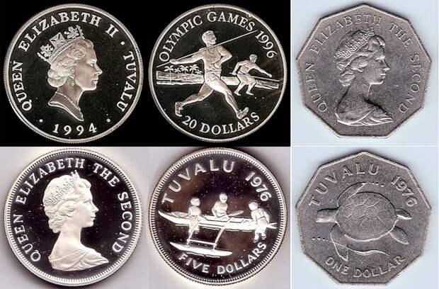 Доллары Тувалу с портретом Елизаветы II - обратите внимание, возраст королевы на монетах разный в зависимости от года выпуска монет