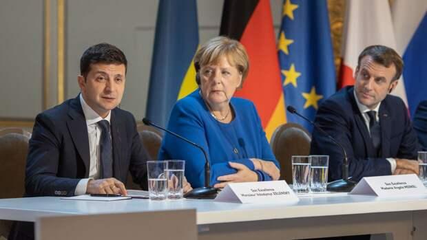 Украинские СМИ сообщили об участии Меркель в переговорах Зеленского и Макрона по Донбассу