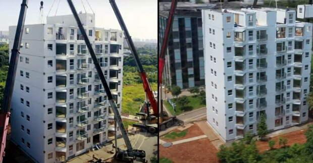 В Китае смогли построить 10-этажный дом за 29 часов