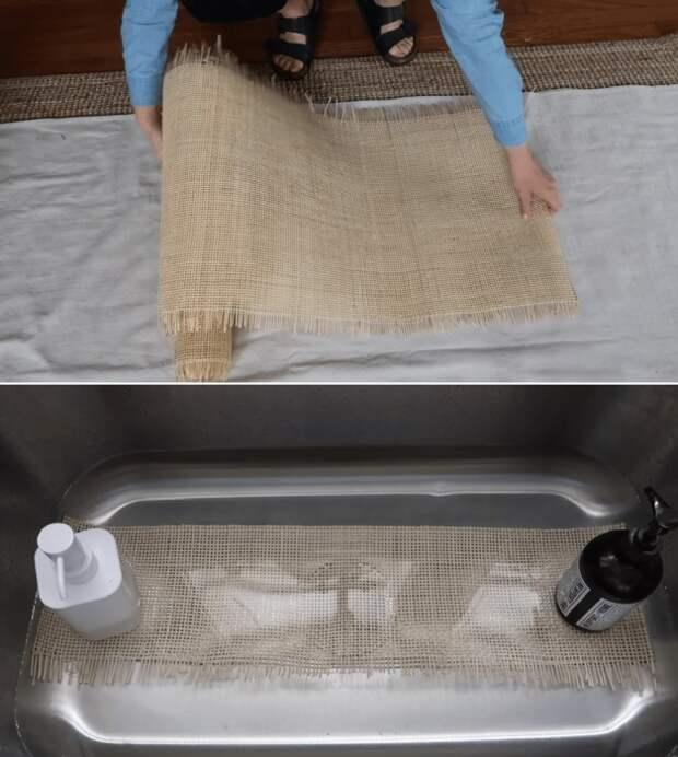 Перед закреплением материала его нужно раскроить и замочить в теплой воде, чтоб дал усадку.