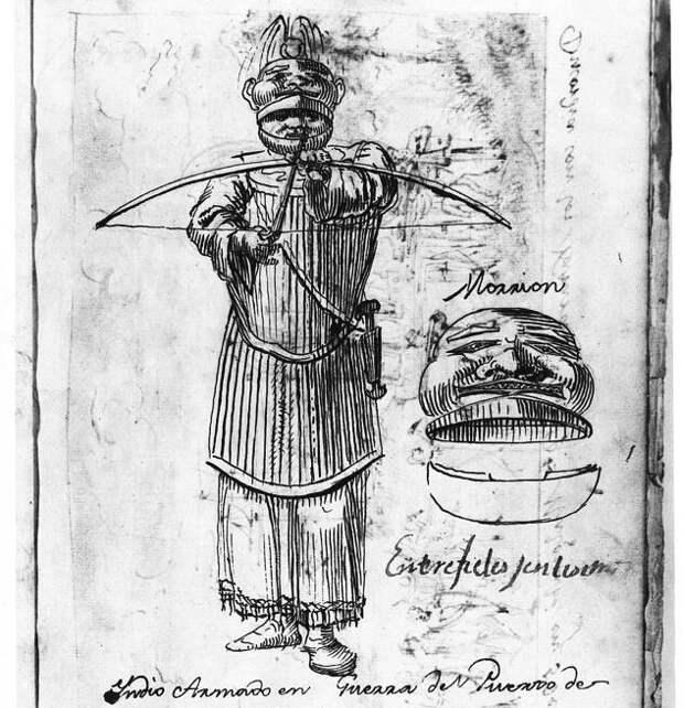Тлинкит в деревянной броне. Набросок 1791 года из дневника испанского художника и путешественника Tomás de Suría