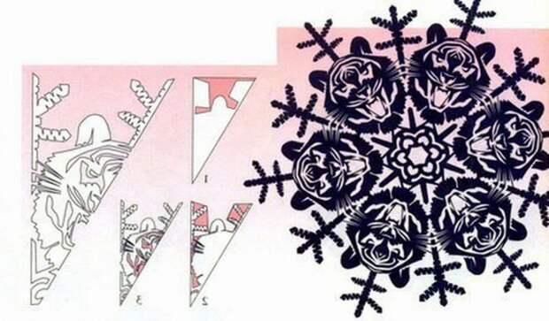 Схема китайских снежинок