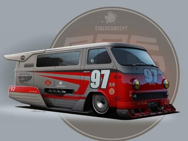 11. Гоночный РАФ-977 СССР, авто, арт-картина, прототип, художник