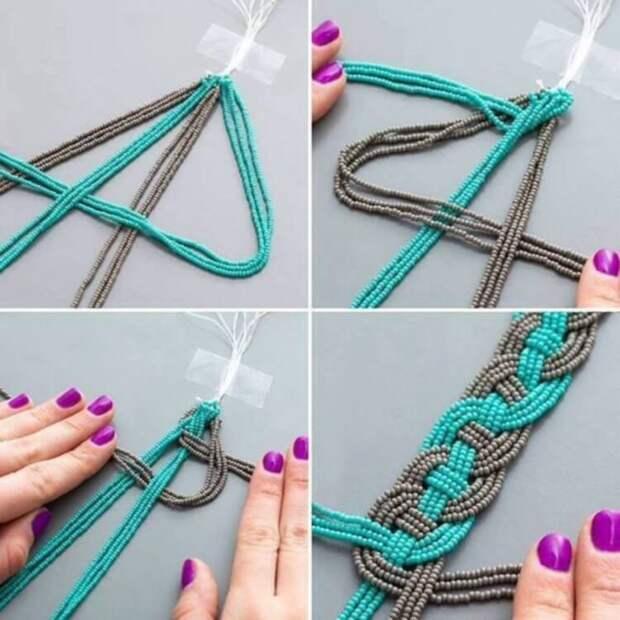 Интересные браслеты из ниток бисера