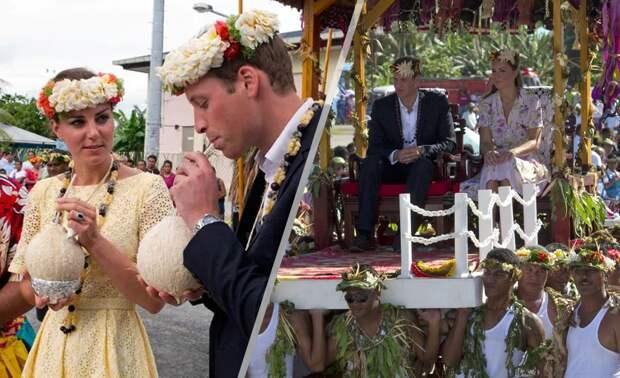 Принц Уильям и Кейт Миддлтон во время посещения Тувалу в 2012 году