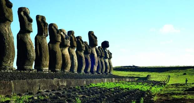 Каменные изваяния острова Рапа-Нуи (названного европейцами островом Пасхи) продолжают в гордом молчании хранить свою тайну. А местные жители, уже лишенные суеверных страхов, возделывают поле рядом с крупнейшим комплексом восстановленных статуй Аху Тонгарики