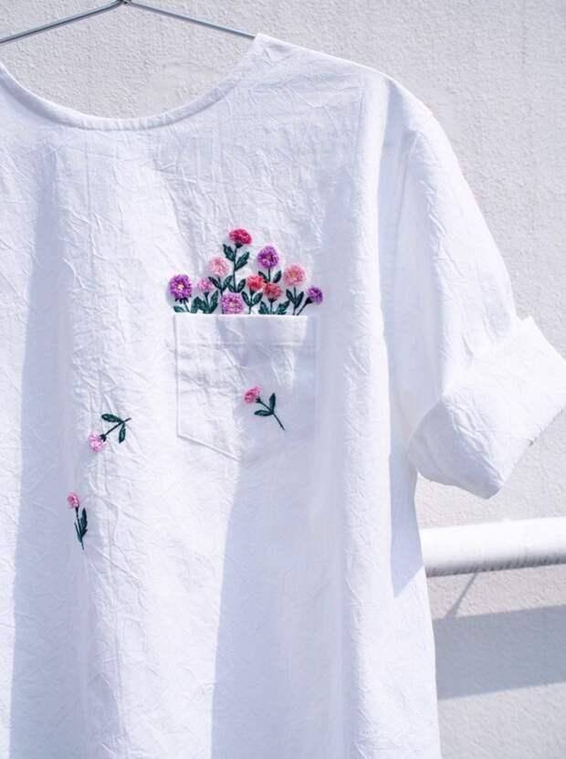 переделка футболки вышивка