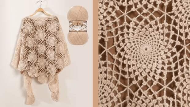 Потрясающе красивая шаль, доступная даже новичкам