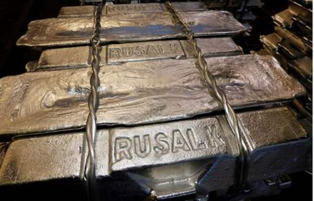 Aluminium ingots are seen stored at the foundry shop of the Rusal Krasnoyarsk aluminium smelter in Krasnoyarsk, Russia October 3, 2018. Picture taken October 3, 2018. REUTERS/Ilya Naymu