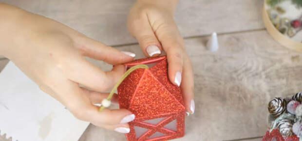 Красивая игрушка-фонарик на ёлку за 5 минут своими руками