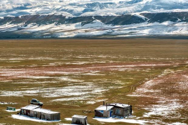 Горы на заднем плане находятся на территории Монголии.