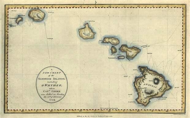 Карта Сандвичевых островов, с обозначением места гибели капитана Кук.