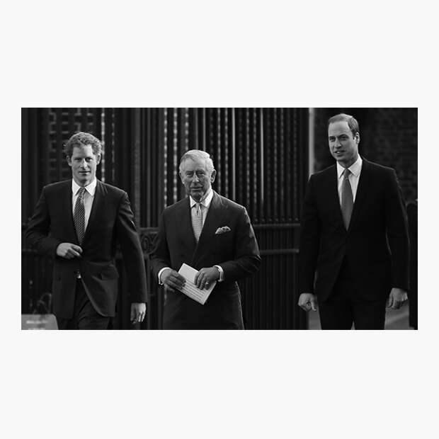 Чарльз, принц Уэльский, с сыновьями Гарри и Уильямом