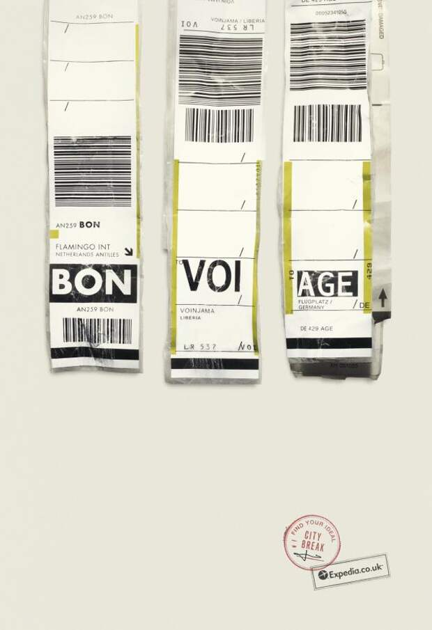 Expedia: BON  VOI  AGE, Expedia, Ogilvy & Mather, London, Печатная реклама
