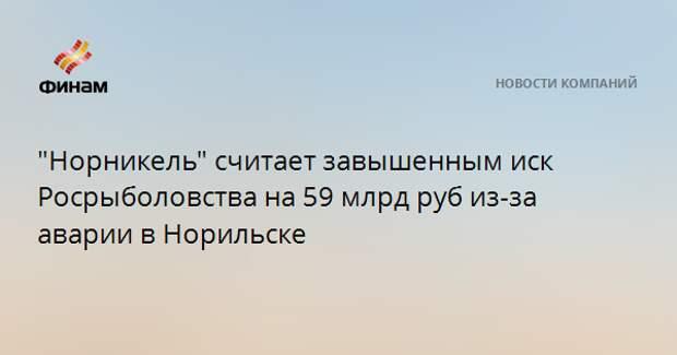 """""""Норникель"""" считает завышенным иск Росрыболовства на 59 млрд руб из-за аварии в Норильске"""
