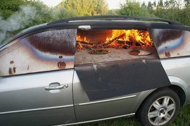 4. Печь для пиццы из машины авто, дизайн, не по назначению, новая жизнь старых идей, что можно сделать из авто, юмор